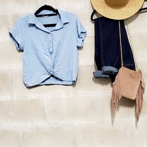 Chambray knotted collared crop top